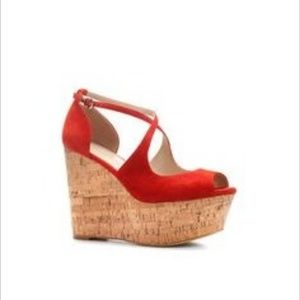 Zara Red Suede Cork Wedges